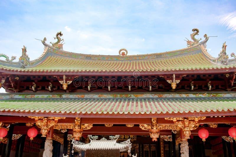 Στέγη κινεζικό Hock Keng Thian ναών στη Σιγκαπούρη στοκ φωτογραφία