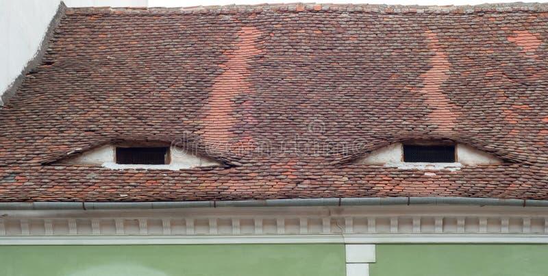 Στέγη με τα μάτι-όπως παράθυρα στοκ εικόνα