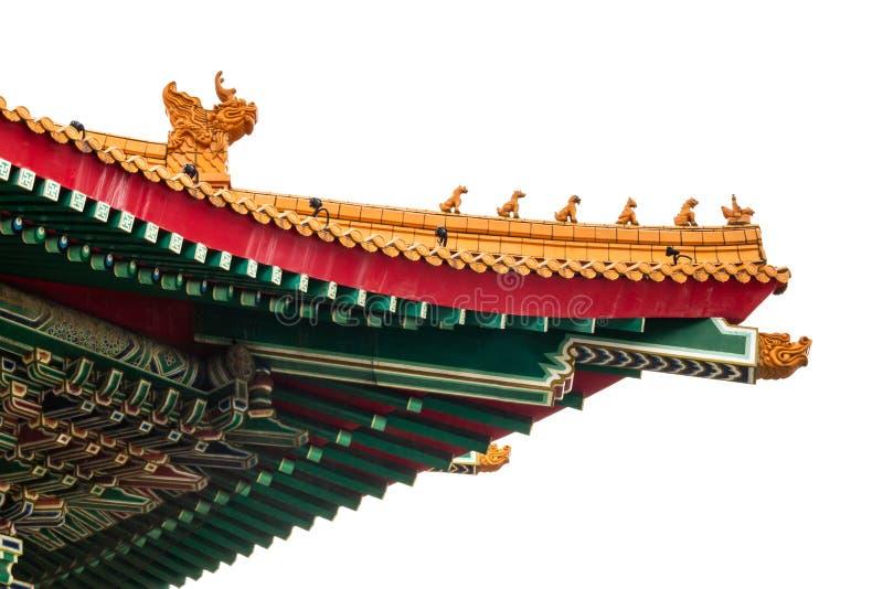 Στέγη παραδοσιακού κινέζικου στο άσπρο υπόβαθρο στοκ εικόνα με δικαίωμα ελεύθερης χρήσης