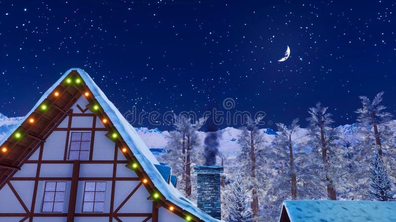 Στέγη σπιτιών με την καπνίζοντας καπνοδόχο στη χειμερινή νύχτα ελεύθερη απεικόνιση δικαιώματος