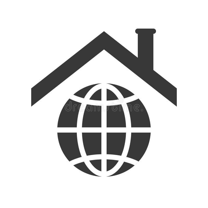Στέγη στο εικονίδιο πλανήτη Γη για τη σφαιρική έννοια θέρμανσης ελεύθερη απεικόνιση δικαιώματος