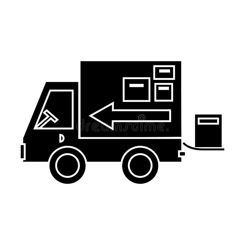 Στέλνοντας εικονίδιο παράδοσης φορτηγών, διανυσματική απεικόνιση, σημάδι στο απομονωμένο υπόβαθρο διανυσματική απεικόνιση