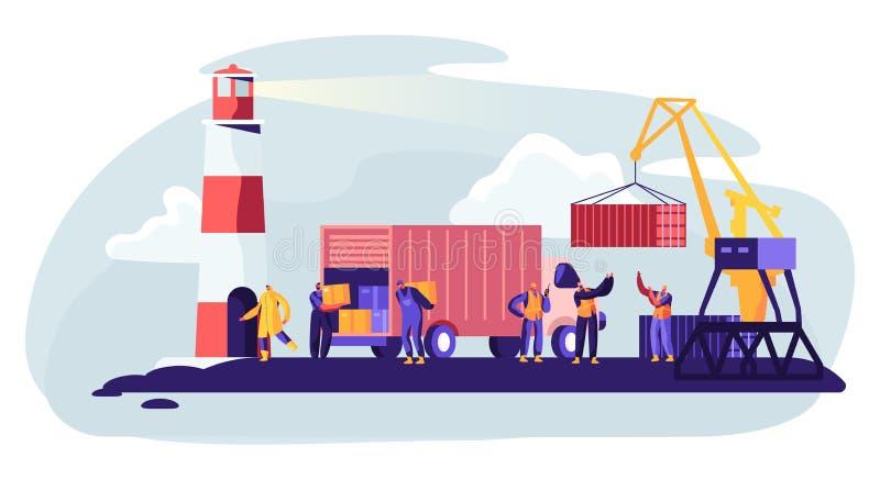 Στέλνοντας λιμένας με τα εμπορευματοκιβώτια φόρτωσης λιμενικών γερανών στη θαλάσσια βάρκα φορτίου Οι εργαζόμενοι θαλάσσιων λιμένω διανυσματική απεικόνιση