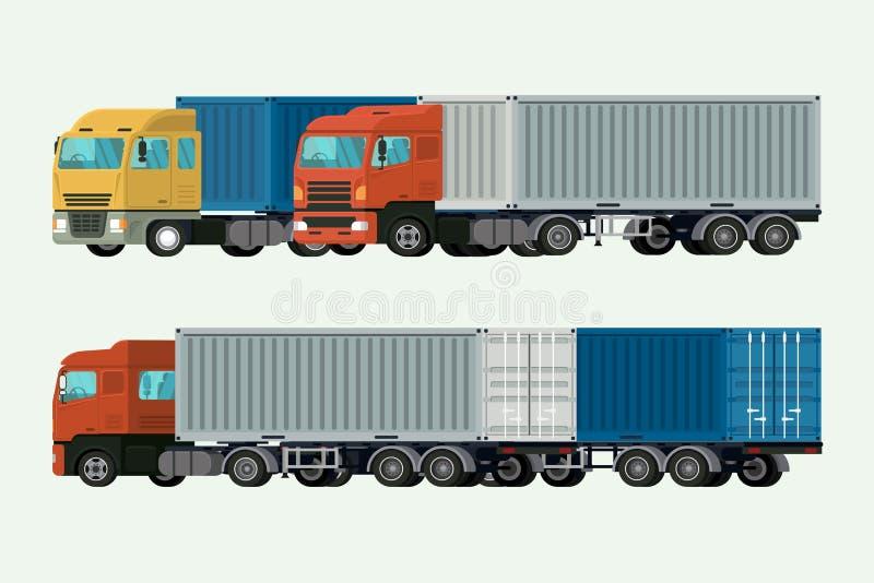 Στέλνοντας φορτίο παράδοσης εμπορευματοκιβωτίων φορτηγών διάνυσμα απεικόνισης διανυσματική απεικόνιση