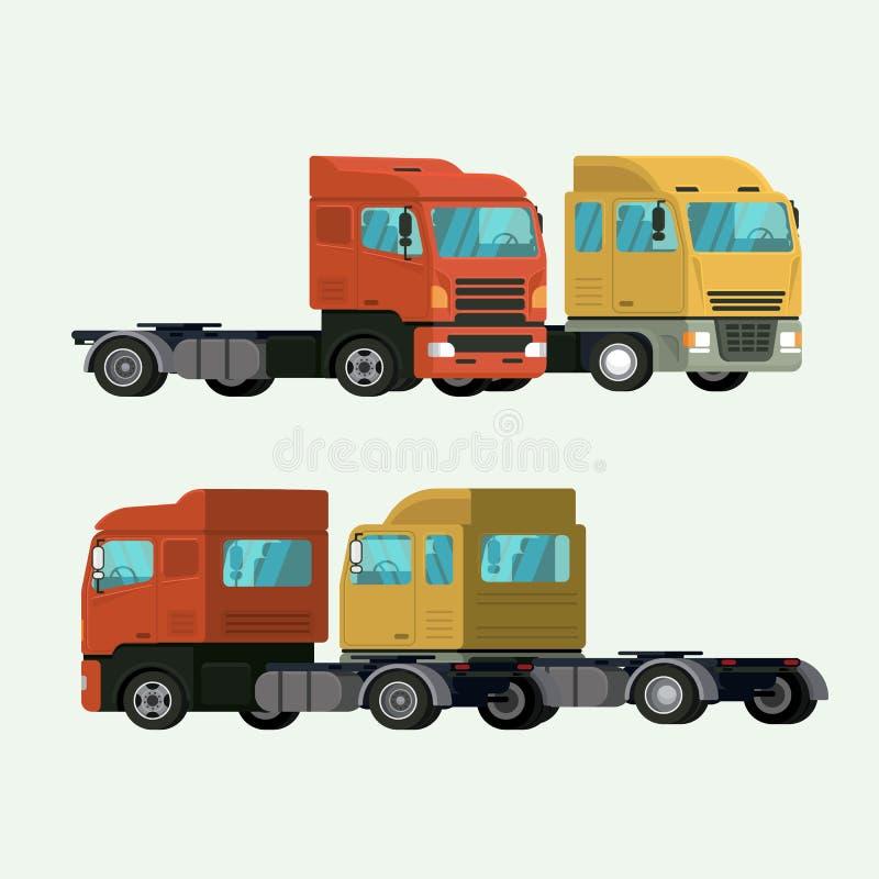 Στέλνοντας φορτίο παράδοσης εμπορευματοκιβωτίων φορτηγών διάνυσμα απεικόνισης ελεύθερη απεικόνιση δικαιώματος