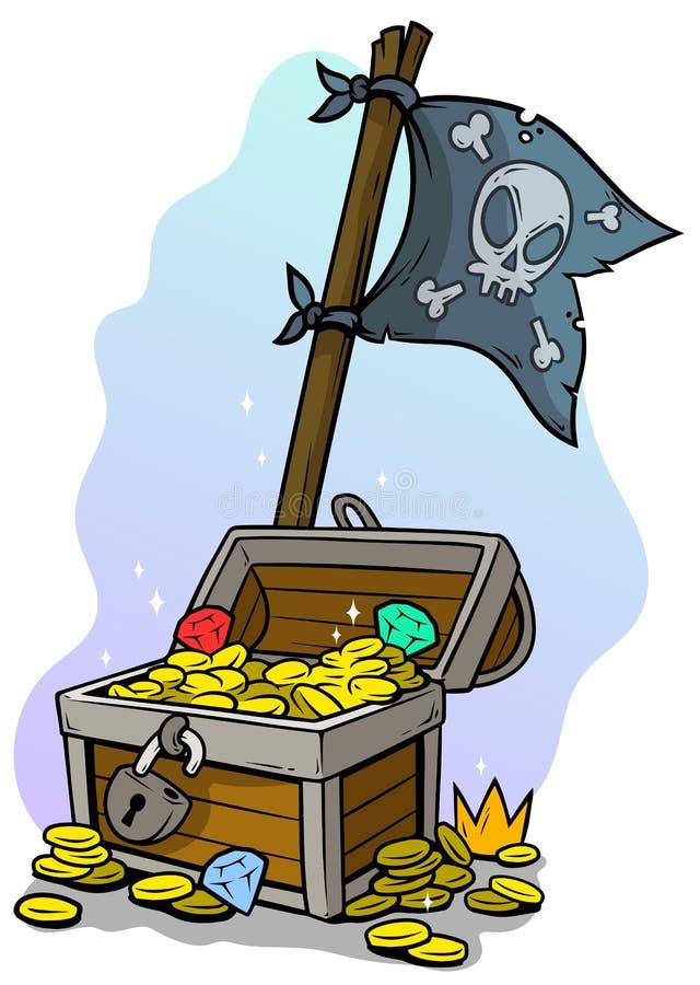 Στήθος θησαυρών κινούμενων σχεδίων και σημαία πειρατών απεικόνιση αποθεμάτων