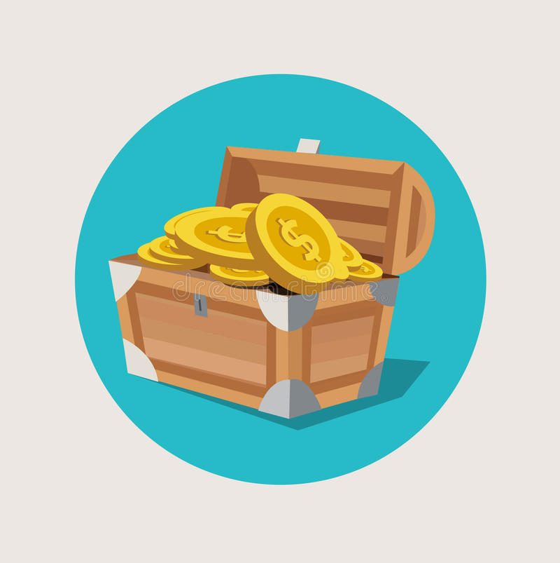 Στήθος θησαυρών με το χρυσό επίπεδο εικονίδιο νομισμάτων απεικόνιση αποθεμάτων