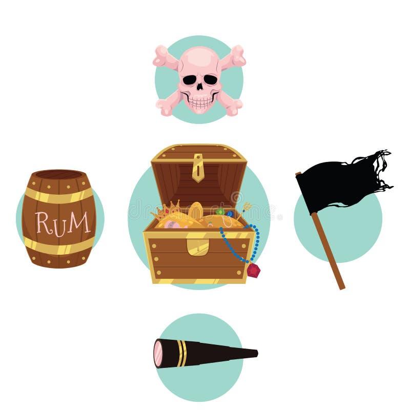 Στήθος θησαυρών πειρατών, σημαία, ρούμι, κρανίο, τηλεσκόπιο διανυσματική απεικόνιση
