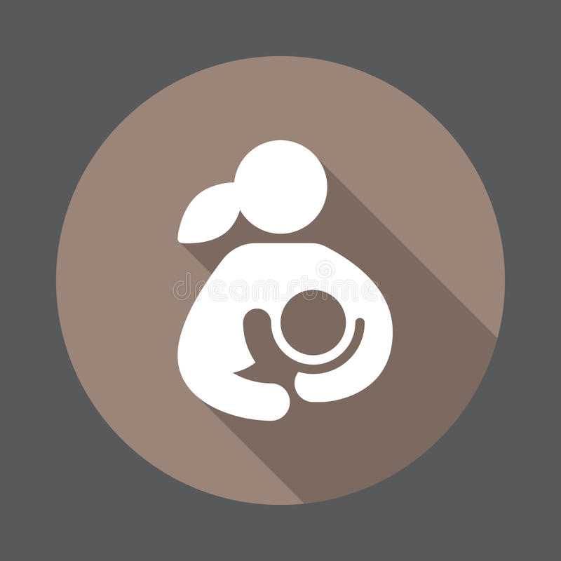 Στήθος - σίτιση, γυναίκα που θηλάζει το επίπεδο εικονίδιο παιδιών της ελεύθερη απεικόνιση δικαιώματος