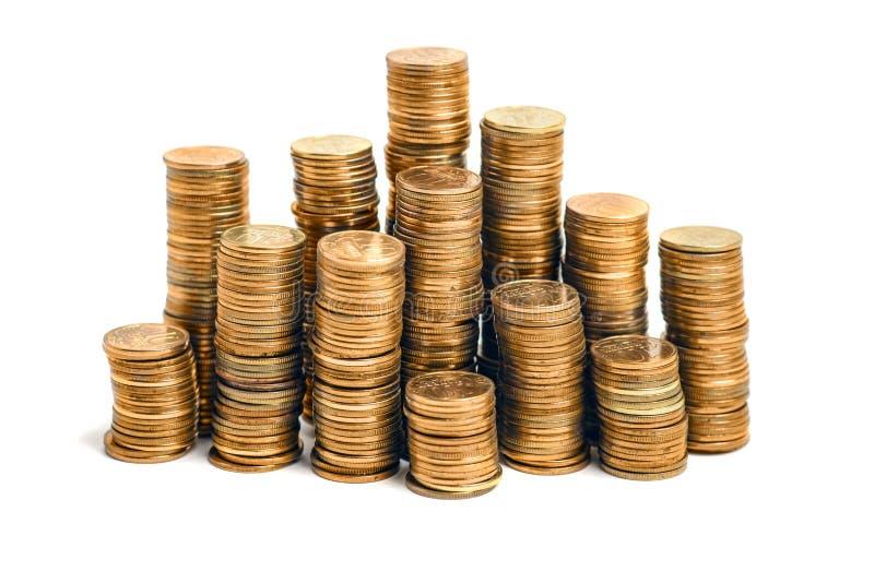 Στήλες νομισμάτων που απομονώνονται στοκ φωτογραφία