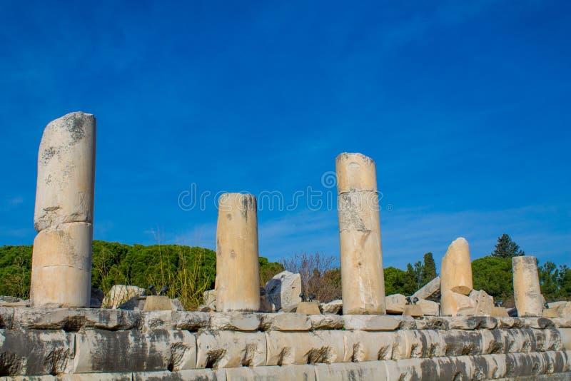 Στήλες στην αρχαία παλαιά πόλη Efes, καταστροφές Ephesus στοκ εικόνα