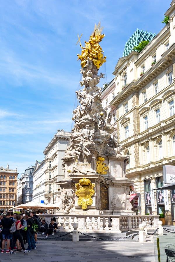 Στήλη τριάδας στηλών πανούκλας στην οδό Graben, Βιέννη, Αυστρία στοκ εικόνες