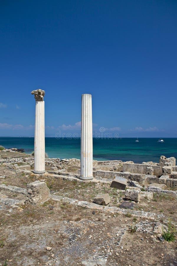 Στήλες σε Tharros στοκ εικόνα