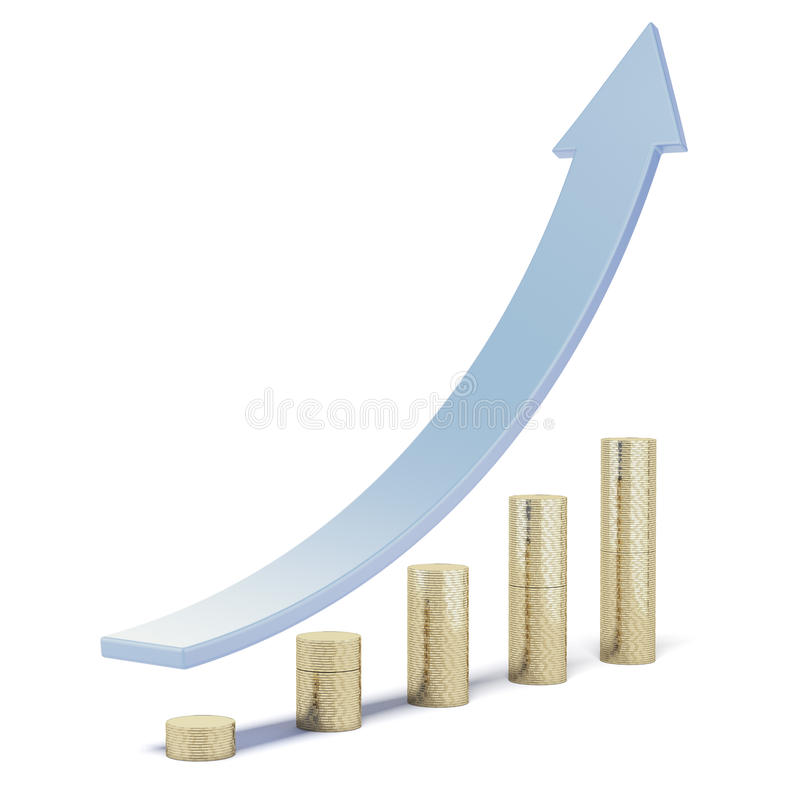 Στήλες των νομισμάτων με το μπλε βέλος διανυσματική απεικόνιση