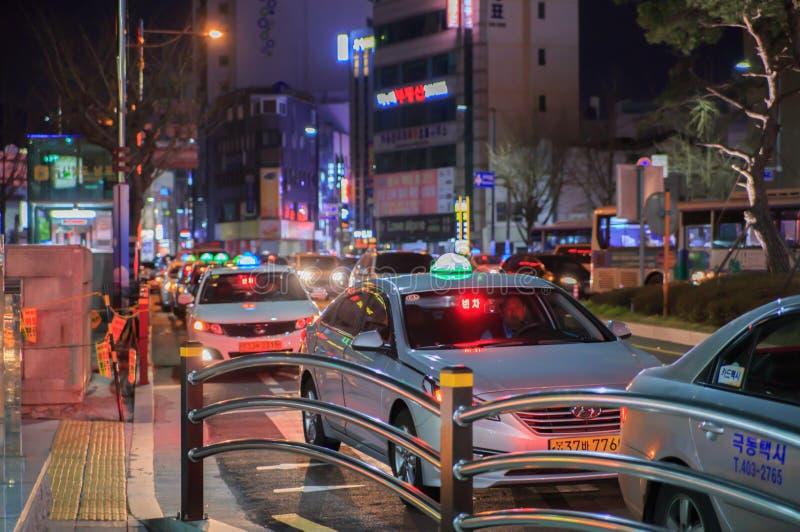 Στήλη βραδιού ενός ταξί στοκ φωτογραφίες με δικαίωμα ελεύθερης χρήσης