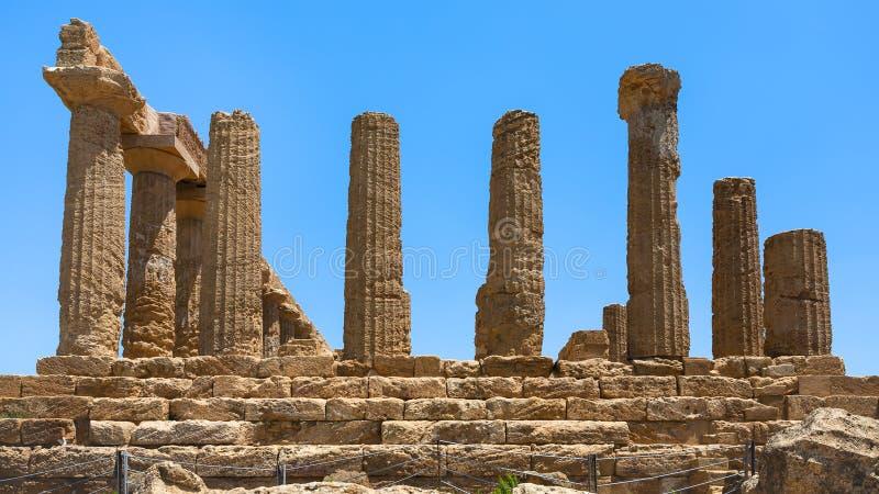 Στήλη του ναού της Juno στην κοιλάδα των ναών στοκ εικόνα