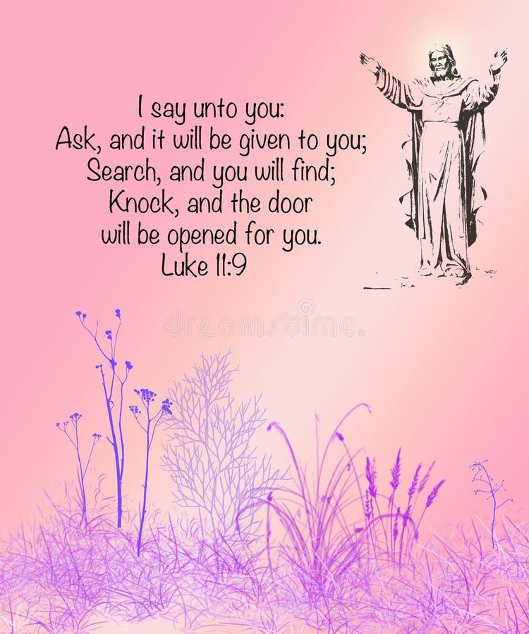 Στίχος Luke11 Βίβλων: 9 απεικόνιση αποθεμάτων