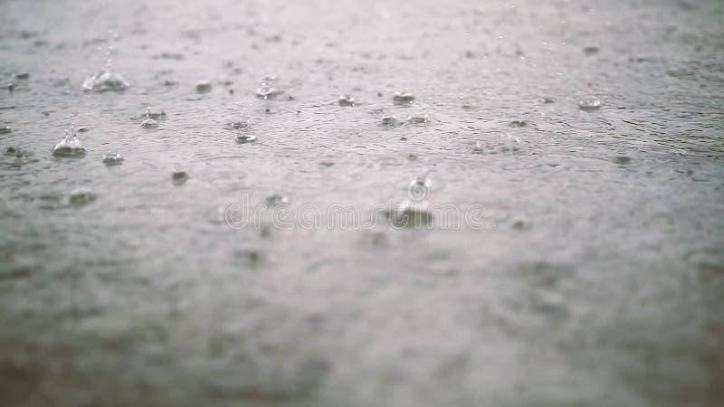 Σταγονίδια βροχής σε ένα πάτωμα τσιμέντου απόθεμα βίντεο