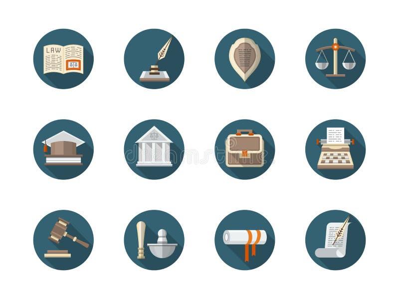 Σταθερά επίπεδα στρογγυλά εικονίδια νόμου καθορισμένα ελεύθερη απεικόνιση δικαιώματος