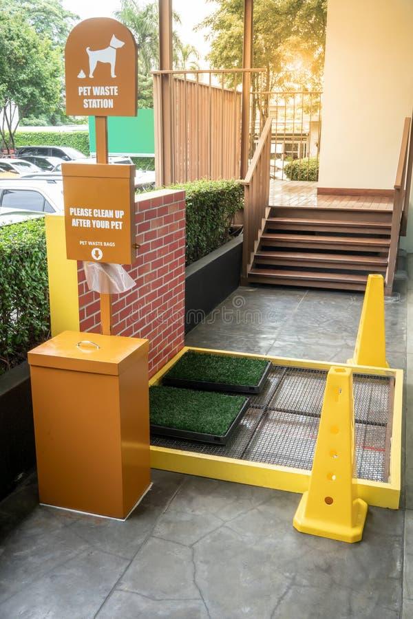 Σταθμός αποβλήτων της Pet στη λεωφόρο αγορών ή τη δημόσια περιοχή Δημόσια απορρίμματα στοκ εικόνα