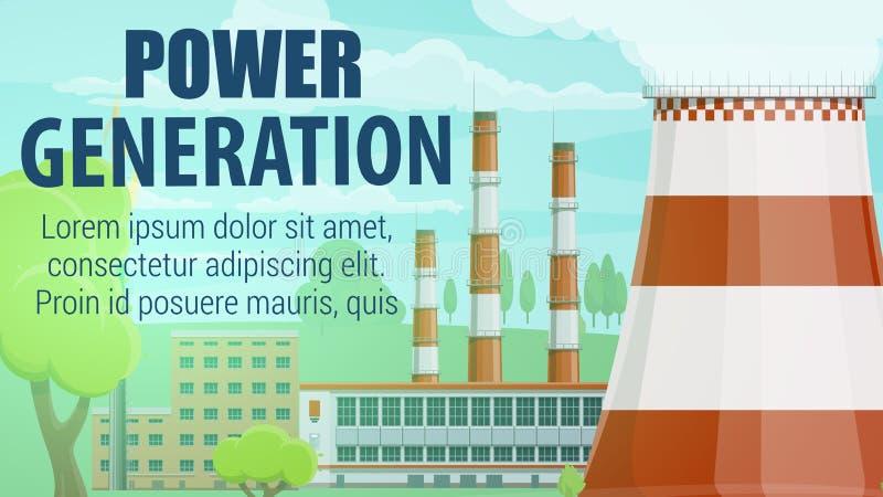 σταθμός παραγωγής ηλεκτρικού ρεύματος βιομηχανίας οικολογίας θερμικός Ηλεκτρικές ενεργειακές εγκαταστάσεις απεικόνιση αποθεμάτων