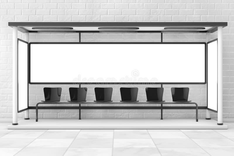 Σταθμός στάσεων λεωφορείου με τον κενό πίνακα διαφημίσεων τρισδιάστατη απόδοση διανυσματική απεικόνιση