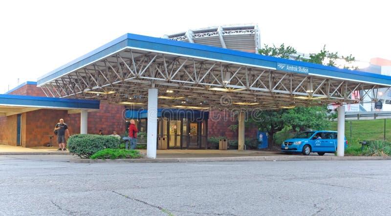 Σταθμός τρένου Amtrak στο στο κέντρο της πόλης Κλίβελαντ, Οχάιο, ΗΠΑ στοκ εικόνα με δικαίωμα ελεύθερης χρήσης