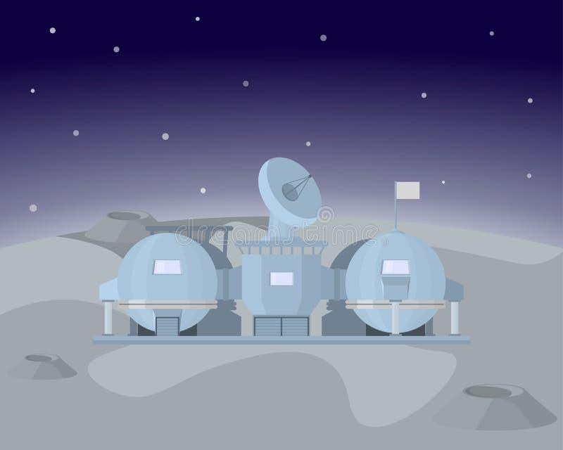 Σταθμός φεγγαριών Διανυσματική απεικόνιση ενός ερευνητικού σταθμού για την εξαγωγή ήλιο-3 ελεύθερη απεικόνιση δικαιώματος