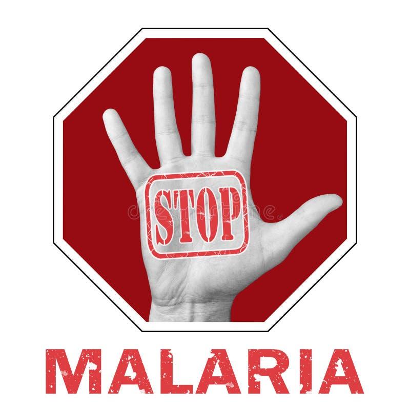 Σταμάτημα εννοιολογικής απεικόνισης της ελονοσίας Ανοικτό χέρι με το κείμενο να σταματά η ελονοσία στοκ φωτογραφίες