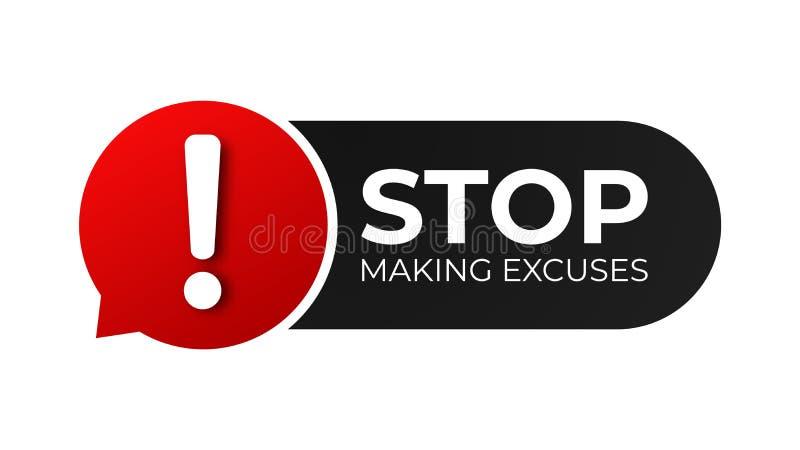 Σταματήστε να δικαιολογείτε διανυσματική απεικόνιση