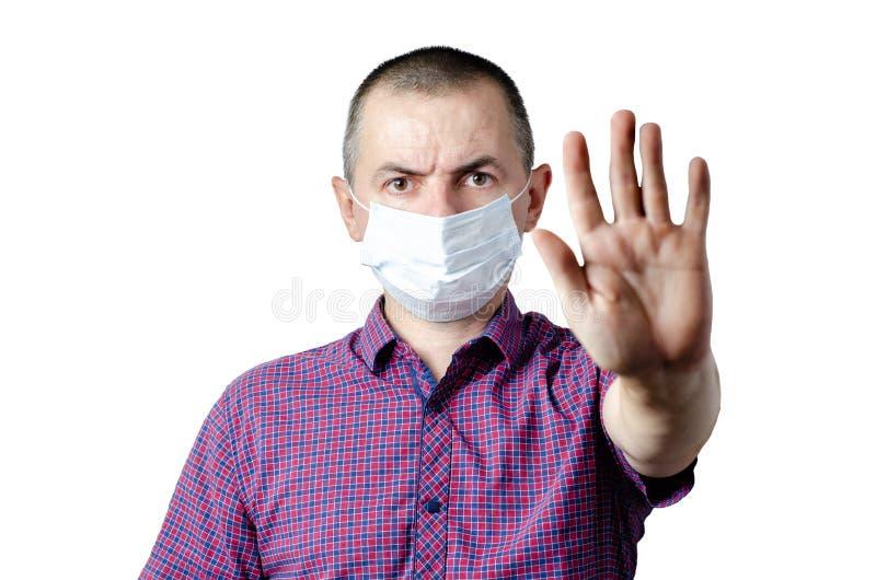 Σταματήστε τη μόλυνση Φωτογραφία της προστατευτικής μάσκας ένδυσης ατόμων ενάντια στις μολυσματικές ασθένειες και τη γρίπη στοκ εικόνα με δικαίωμα ελεύθερης χρήσης