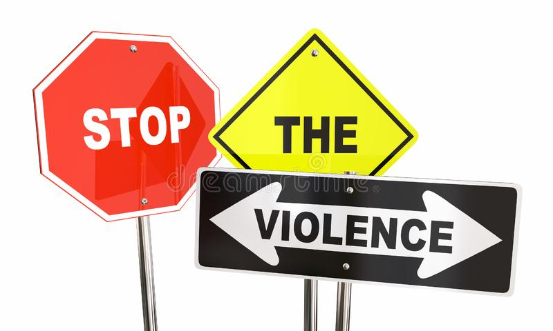 Σταματήστε τις λέξεις πολεμικών σημαδιών πάλης τελών βίας απεικόνιση αποθεμάτων