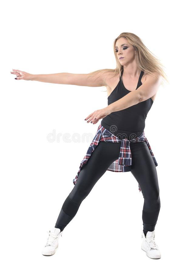 Σταματημένη κίνηση του ενεργητικού εμπαθούς νέου σύγχρονου σύγχρονου χορού χορού γυναικών στοκ εικόνες με δικαίωμα ελεύθερης χρήσης