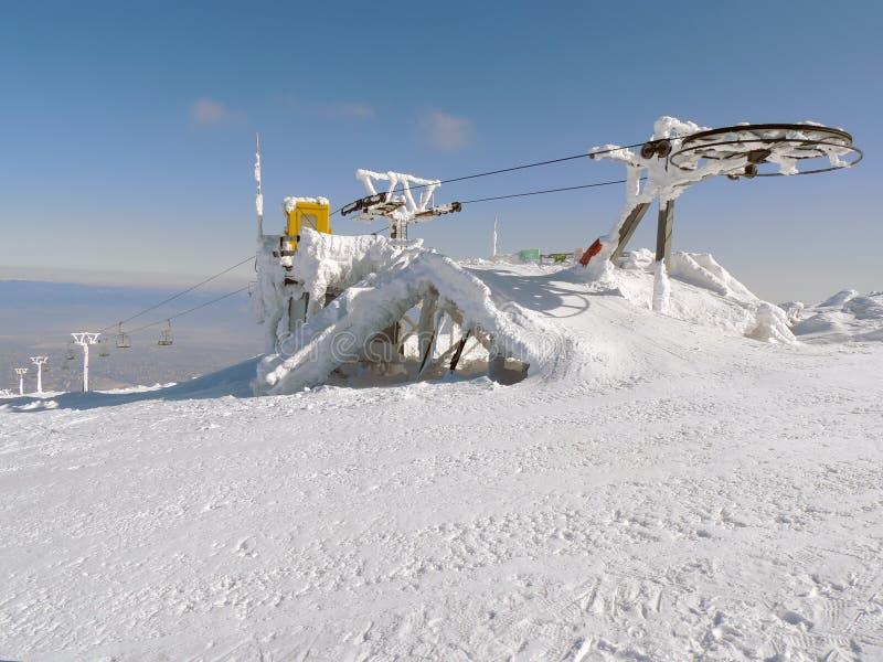Σταματημένος ανελκυστήρας στον παγετό στοκ εικόνες