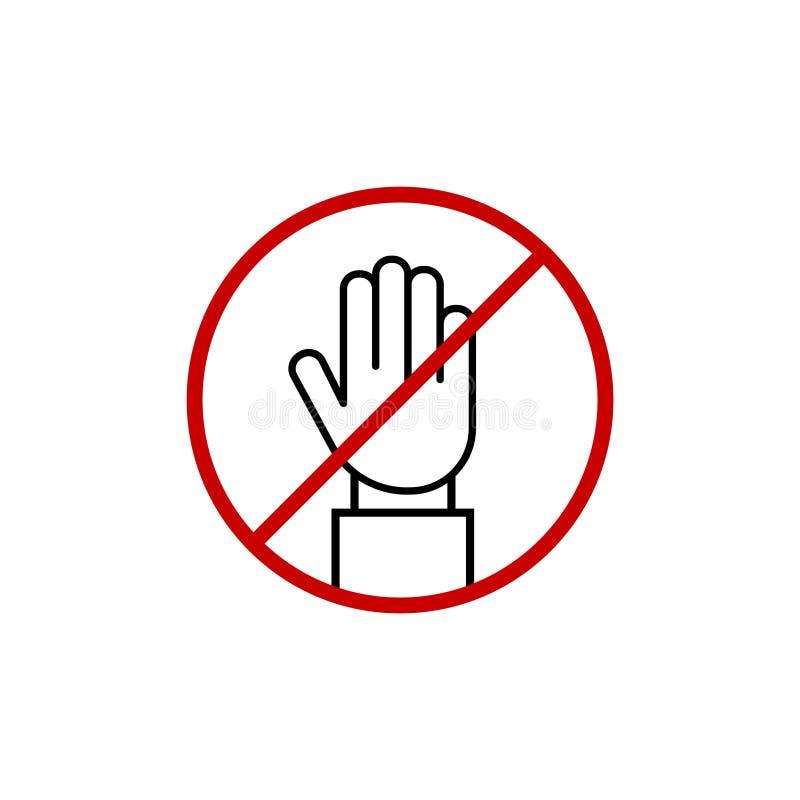 ΣΤΑΣΗ! Καμία είσοδος! Κόκκινο σημάδι χεριών στάσεων για τις απαγορευμένες δραστηριότητες Διανυσματική απεικόνιση χεριών στάσεων,  απεικόνιση αποθεμάτων