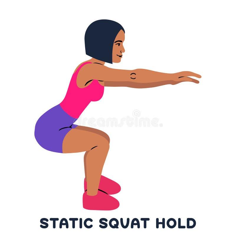 Στατική κοντόχοντρη λαβή squat Αθλητικό exersice Σκιαγραφίες της γυναίκας που κάνουν την άσκηση Workout, κατάρτιση απεικόνιση αποθεμάτων