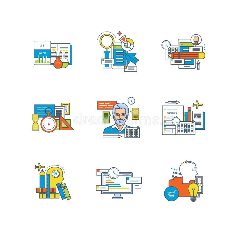 Στατιστικές, εκπαίδευση, έρευνα, προγραμματισμός, χρονική διαχείριση, επικοινωνίες, δημιουργικός, επιχειρησιακές διαδικασίες διανυσματική απεικόνιση