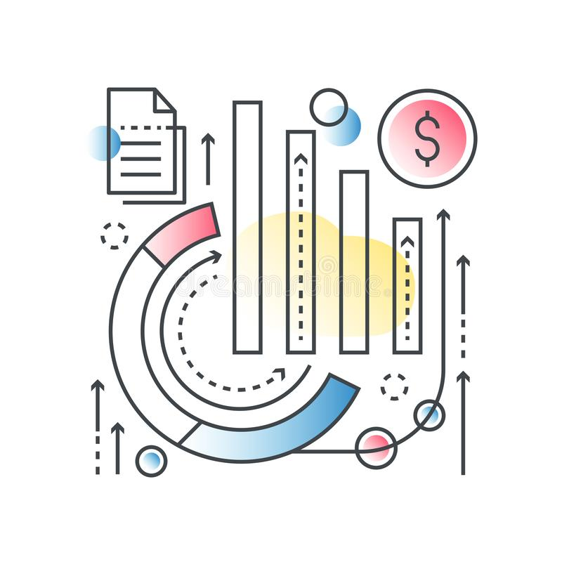 Στατιστικές επιχειρησιακών γραφικών παραστάσεων, σφαιρικό analytics seo, ανάλυση στοιχείων, ερευνητική διανυσματική έννοια χρηματ ελεύθερη απεικόνιση δικαιώματος