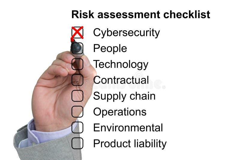Σταυροί χεριών από το πρώτο στοιχείο ενός πίνακα ελέγχου αξιολόγησης του κινδύνου στοκ εικόνες με δικαίωμα ελεύθερης χρήσης