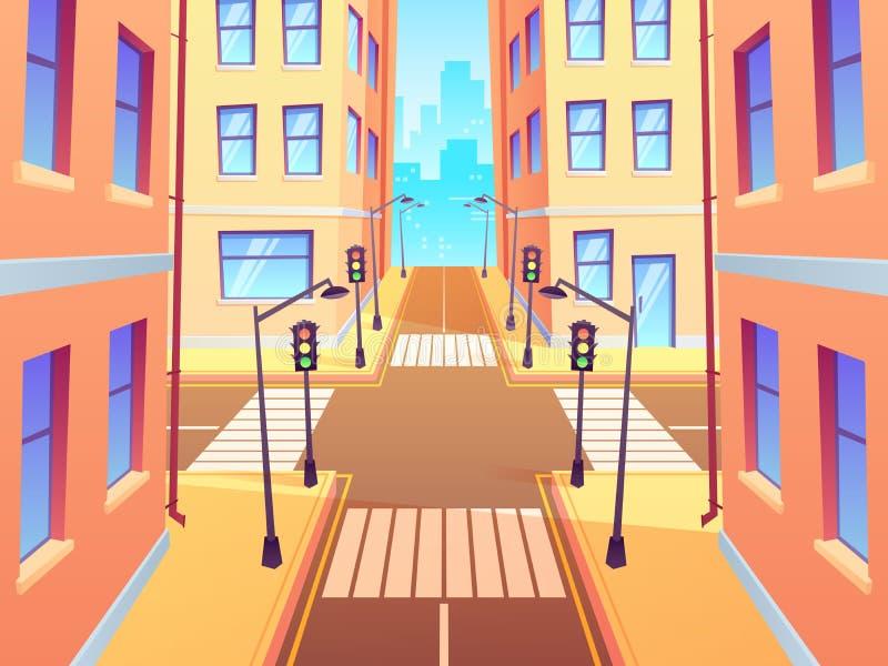Σταυροδρόμι πόλεων με τη διάβαση πεζών Αστικοί φωτεινοί σηματοδότες διατομής, σταυροδρόμια πόλης οδών και κινούμενα σχέδια οδικών διανυσματική απεικόνιση
