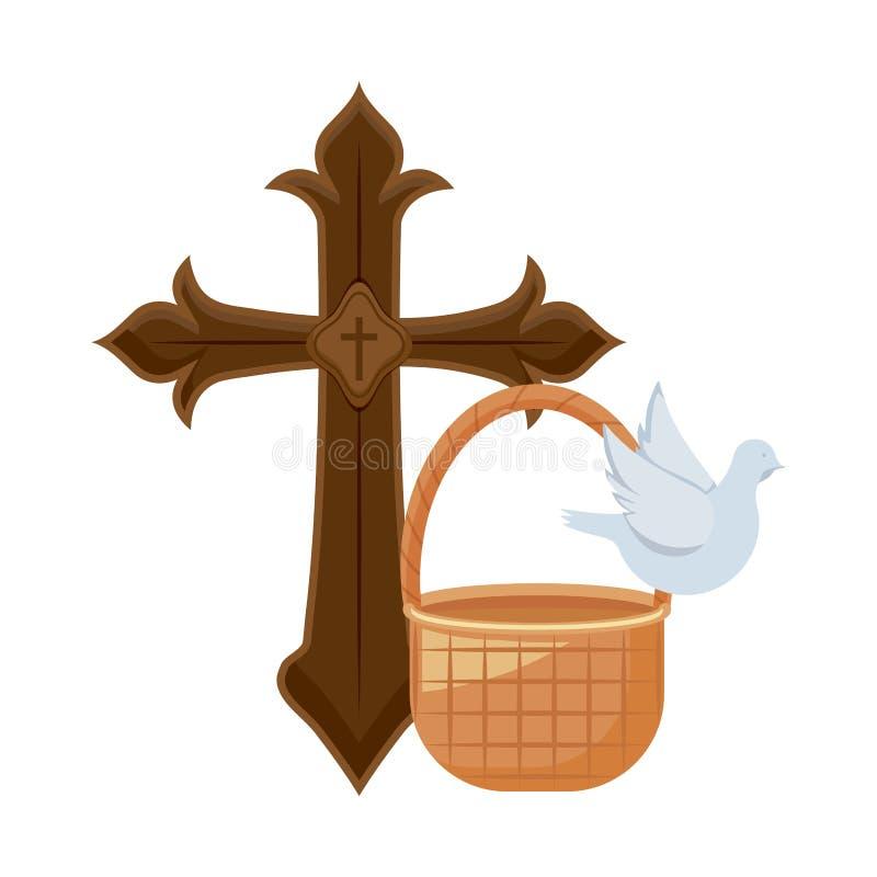 Σταυρός καθολικός με το χαριτωμένο περιστέρι και το ψάθινο καλάθι ελεύθερη απεικόνιση δικαιώματος