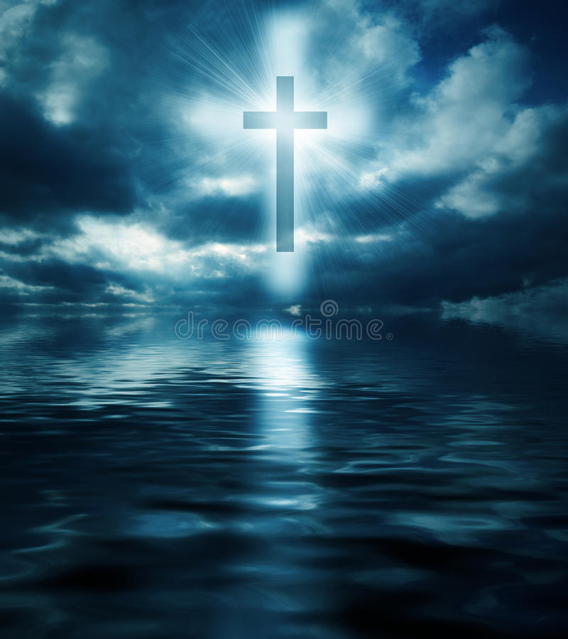 Σταυρός και νερά διανυσματική απεικόνιση