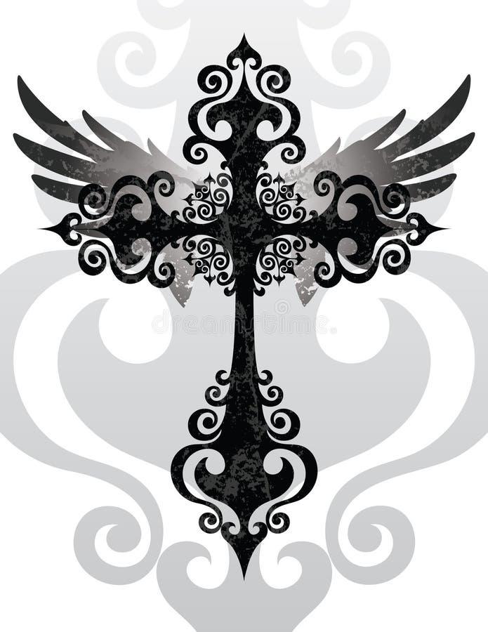 Σταυρός και φτερά διανυσματική απεικόνιση