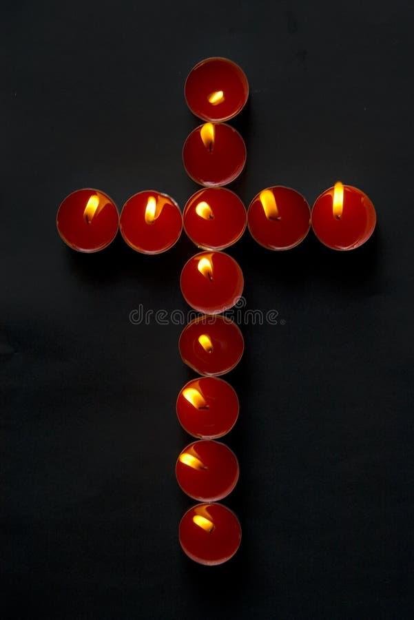 σταυρός κεριών στοκ φωτογραφίες