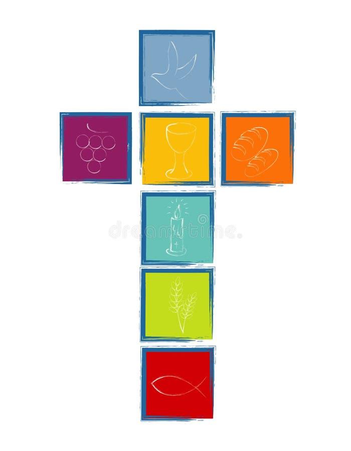 Σταυρός με τα άσπρα χριστιανικά σύμβολα Σταυρός που διαμορφώνεται από τα χρωματισμένα τετράγωνα με το μπλε πλαίσιο θρησκευτικό ση διανυσματική απεικόνιση