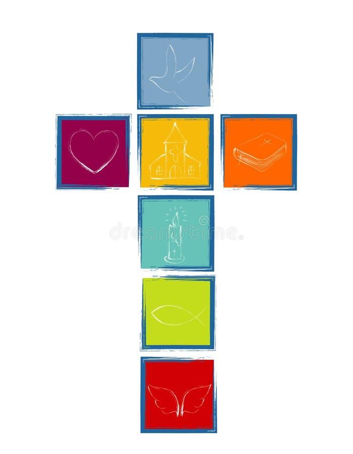 Σταυρός με τα χριστιανικά σύμβολα Σταυρός που διαμορφώνεται από τα χρωματισμένα τετράγωνα με το μπλε πλαίσιο θρησκευτικό σημάδι απεικόνιση αποθεμάτων