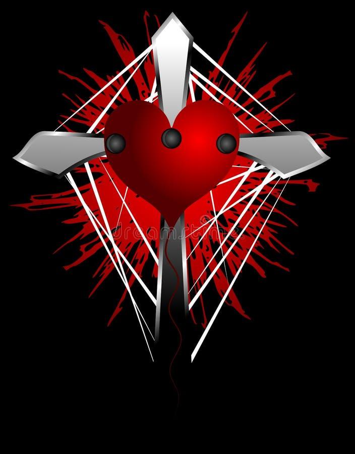 Σταυρός με την αιμορραγία της καρδιάς ελεύθερη απεικόνιση δικαιώματος