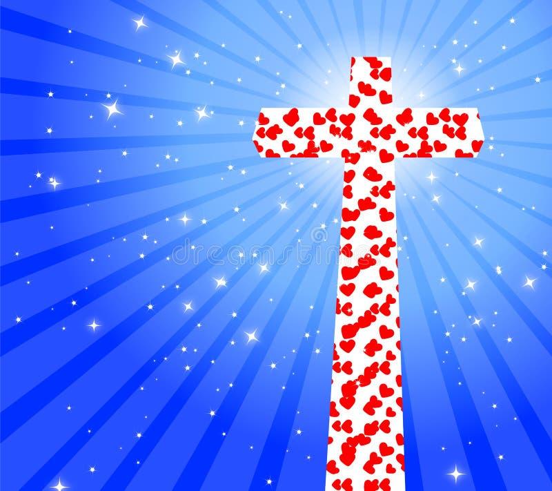 Σταυρός με την καρδιά ελεύθερη απεικόνιση δικαιώματος