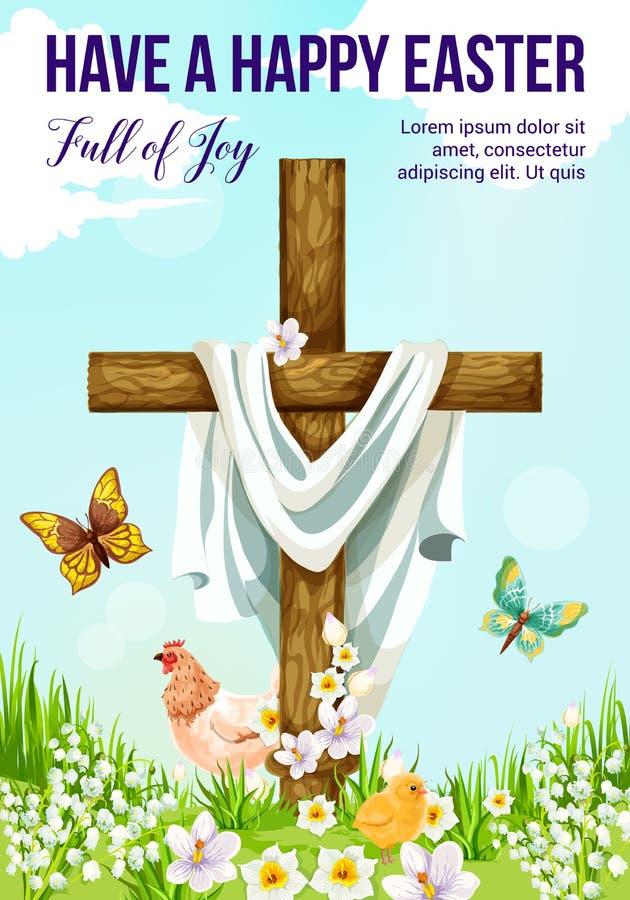 Σταυρός Πάσχας με τη ευχετήρια κάρτα λουλουδιών άνοιξη διανυσματική απεικόνιση
