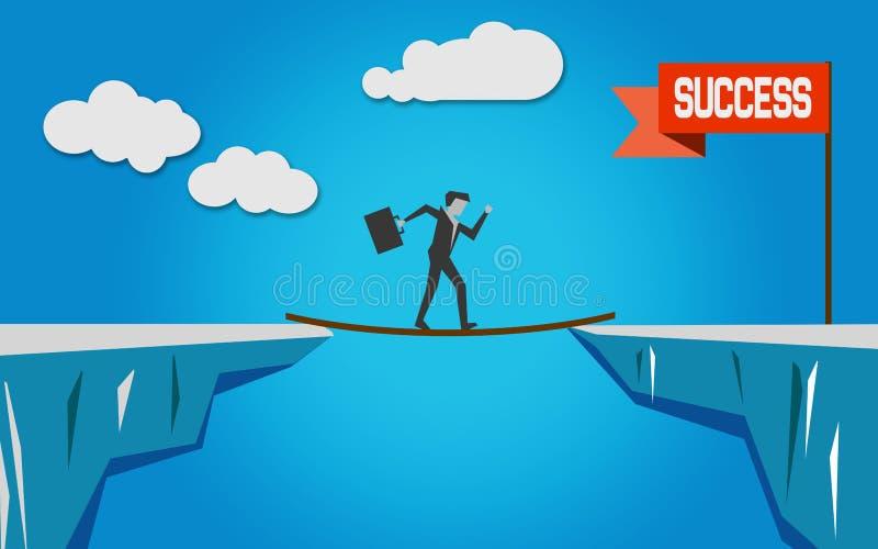 Σταυρός πέρα από τη γέφυρα για την επιτυχία διανυσματική απεικόνιση